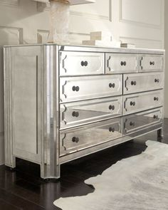 """Horchow """"Logan"""" Large Mirrored Chest 