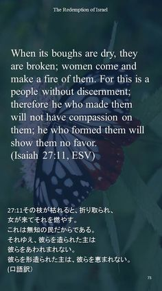 When its boughs are dry, they are broken; women come and make a fire of them. For this is a people without discernment;therefore he who made them will not have compassion on them; he who formed them will show them no favor.(Isaiah 27:11, ESV)27:11その枝が枯れると、折り取られ、 女が来てそれを燃やす。 これは無知の民だからである。 それゆえ、彼らを造られた主は 彼らをあわれまれない。 彼らを形造られた主は、彼らを恵まれない。 (口語訳)