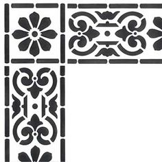 Finish off a painted wall or painted ceiling design with Corner Stencils. These corner design stencils are a beautiful addition to classic ceiling stencils and furniture stencils, as they highlight and frame edges and small architectural details. Stencil Patterns, Stencil Designs, Stencils, Stenciled Floor, Royal Design, Bar Design, Floor Cloth, Border Design, Border Pattern