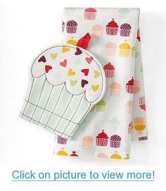 Valentine's Day Cupcake Kitchen Towel $ Potholder Set #Valentines #Day #Cupcake #Kitchen #Towel # #Potholder #Set