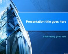 Free business PowerPoint template with corporate headquarters in the slide design and blue background