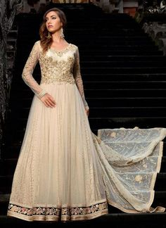 Embroidered Net Anarkali suit in Off White