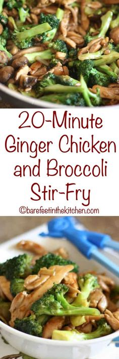 Ginger Chicken and Broccoli Stir Fry - get the recipe at barefeetinthekitchen.com