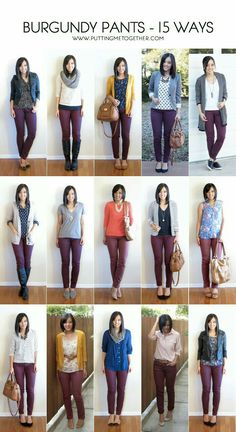 More outfit ideas for my maroon pants. Putting Me Together: 15 Ways to Wear Burgundy or Maroon Pants Maroon Pants Outfit, Maroon Jeans, Olive Pants Outfit, Burgandy Skinny Jeans Outfit, Outfits With Olive Pants, Brown Pants Outfit For Work, Green Jeans Outfit, Skinny Pants Outfits, Shoes For Skinny Jeans