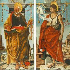Francesco del Cossa - San Pietro e San Giovanni Battista (pannelli Polittico Griffoni) - 1473 - Pinacoteca di Brera, Milano