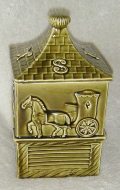 Vintage Green Ceramic Horse Weathervane Farm Square Cookie Jar  (In my personal collection)