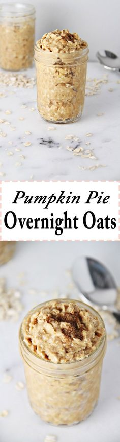 Pie Overnight Oats by Jar Of Lemons! Pumpkin Pie Overnight Oats by !Pumpkin Pie Overnight Oats by ! Oatmeal Recipes, Pumpkin Recipes, Pumpkin Pies, Baked Pumpkin, Fall Breakfast, Breakfast Recipes, Breakfast Cups, Breakfast Smoothies, Overnight Oatmeal