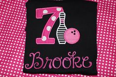 7th birthday Bowling party shirt for girl or boy any number