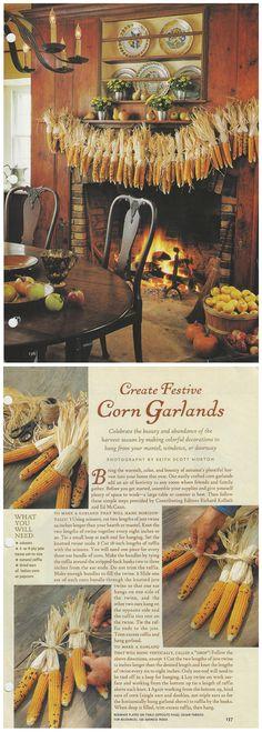 Corn garland.  Stunning decorating.