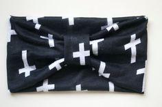 Black & White Turban Headband.  Cotton Knit by BeeMineSunshine