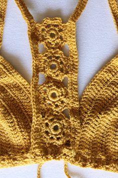 Ocher Crochet Crop Top, Boho Hippie yellow Crochet Top, crossed back bralette, crochet bikini top Crochet Bra, Hippie Crochet, Crochet Bikini Top, Crochet Collar, Crochet Clothes, Boho Hippie, Festival Tops, Crop Tops, Gypsy Style