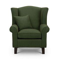 Shetland Green Tweed Wingback Chair  Sloane & Sons