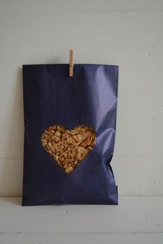 Bundle of 100 Blue Kraft paper bags with a heart window complete with cellophane bag --- Wedding favor bags or for a sweet table