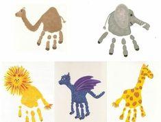 kamel, elefant, löwe, drachen, giraffe - handabdruck bilder