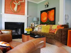 Burnt orange and Brown Living Room Idea Elegant Awesome Burnt orange Decor Ideas Homes Decor Orange Rooms, Living Room Orange, Eclectic Living Room, Living Room Decor, Living Spaces, Bedroom Orange, Fireplace Tile Surround, Fireplace Surrounds, Fireplace Design