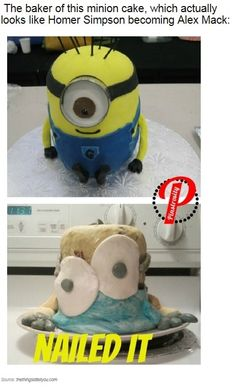 Funny pictures about Minion Cake Fail. Oh, and cool pics about Minion Cake Fail. Also, Minion Cake Fail. Baking Fails, Fail Nails, Food Fails, Pinterest Fails, Pinterest Food, Pinterest Cake, Pinterest Recipes, Pinterest Funny, Pinterest Projects