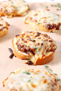 Wow friends and family with creamy, cheesy French Onion Bruschetta! These caramelized onions and cheese pair beautifully for a party. #ad  via @speckledpalate