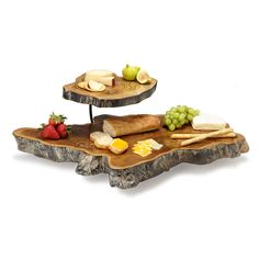 DOUBLE TIERED TEAK ROOT SERVING PLATTER | serving tray, tiered, teak wood, iron | UncommonGoods $198