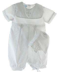 Infant Boys White Christening Romper Cross Collar - Petit Ami · Posh Peanut  · Baby Gowns bcb7b29a0