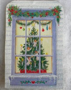 Cottage Window Christmas Tree Greeting Card Glittered Wood Christmas Ornament