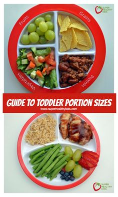 Guide to Toddler Portion Sizes - All kids are different, and grow at different rates, but these guidelines to what your toddler should be eating is a great baseline! http://www.superhealthykids.com/guide-to-toddler-portion-sizes/