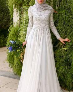 Wedding Dresses Ball Gown, Glamorous Silk-like Chiffon Natural Waistline A-line Arabic Islamic Wedding Dresses With Beaded Embroidery DressilyMe - Tesettür Elbise Modelleri 2020 - Tesettür Modelleri ve Modası 2019 ve 2020 Dresses Elegant, Elegant Wedding Dress, Modest Dresses, Trendy Dresses, Ball Dresses, Prom Dresses, Trendy Wedding, Dress Wedding, Wedding Simple