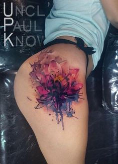 Watercolor Lotus flower hip tattoo by Uncl Paul Knows. Leg Tattoos Women, Sexy Tattoos, Body Art Tattoos, Girl Tattoos, Tatoos, Flash Tattoos, Hand Tattoos, Flower Hip Tattoos, Tattoos Familie