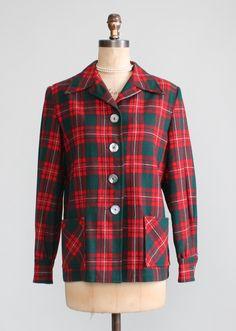 Vintage 1940s Pendleton Plaid 49er Jacket