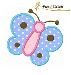 butterfly applique machine embroidery design by FunStitch on Etsy Baby Applique, Elephant Applique, Machine Embroidery Applique, Applique Quilts, Embroidery Stitches, Hand Embroidery, Applique Templates, Applique Patterns, Applique Designs