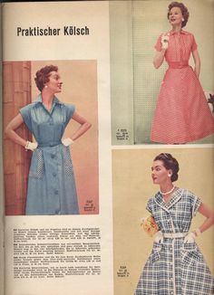 Three wonderfully classic 1950s warm weather day dresses (from 1956). #vintage…