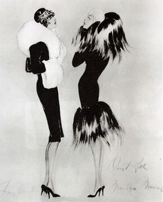 """Tony Curtis & Marilyn Monroe - """"Some Like It Hot"""" - Costume Designer: Orry Kelly Tony Curtis, Some Like It Hot, Orry Kelly, Costume Design Sketch, Hollywood Costume, Art Deco, Fifties Fashion, Fashion Design Sketches, Silhouette"""