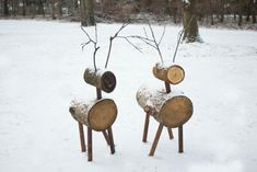Use natural logs and stained dowels to build a sturdy herd that'll accessorize your home year-after-year.