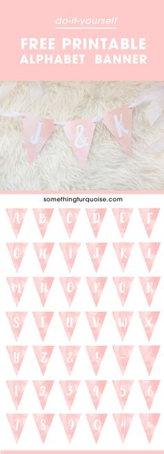 Adorable FREE printable watercolor alphabet banner, you can make it say anything…