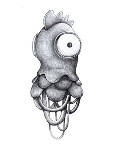 Character design of some kind of creatures mixing objects or animals with no sense. Traditional drawings done with just a simple ballpoint bic black pen. Later colored in Photoshop.