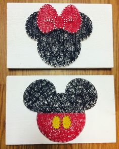 Minnie and Mickey Mouse string art