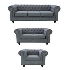 Chesterfield 3 Piece Grace Linen Living Room Set