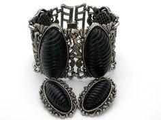 Very Wide Thermoset Bracelet Earrings Demi Set Vintage Black Lucite Silver Tone #Unbranded