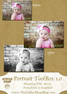 CoffeeShop Portrait ToolBox 1.0 PSE/Photoshop Action!
