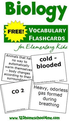 FREE Biology Vocabulary Flashcards for Elementary Kids (homeschool, science)