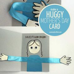 "Make an adorable ""huggy"" mother's day card craft for kids! It's an adorable 3D hug to give mom, that kids can color in too."