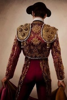I like the art, not the fighting Christian Gaillard, 'Torero' series, Matador in Garnet and Gold Burgundy And Gold, Red Gold, Matador Costume, Flamenco Dancers, Theatre Costumes, Dressed To Kill, Belle Photo, Lady In Red, Clothes