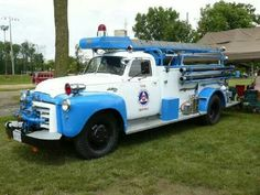 Unusual blue and white fire truck