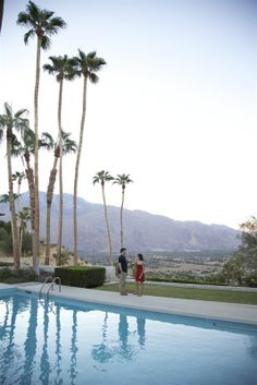 Cocktails by the pool in Palm Springs