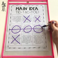 main idea tic-tac-toe: main idea at the paragraph level for speech therapy Source Speech Pathology, Speech Language Pathology, Speech And Language, Receptive Language, Language Arts, Speech Therapy Activities, Language Activities, Main Idea Activities, Articulation Activities
