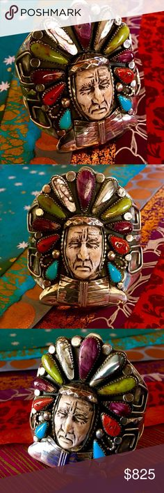 "Indian Chief Cuff by Francisco Gomez A Stunning Array of the Earth's most colorful Stones incl. Turquoise, Coral, Purple Spiny Oyster, Gaspeite, Abalone, set in hand cut Saw-tooth Bezels,Respectfully Represent w/Beauty & Might, the Glorious War Bonnet of the Native American Chief. By Spanish Master Silversmith Francisco Gomez, fashioned by his hands out of Sterling Silver, his brave face detailed in Carved Shell. Solid Sterling Head & Chest piece, 3""T, 3""W,  5 7/8"" Inter. Circ. 1 1/2"" Gap…"