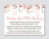 Mason Jar Baby Shower Bring a Book Instead of a Card Invitation Inserts - Printable Instant Download - Pink and Brown - Mason Jar