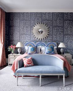 Decorator Sheila Bridges used grays, blues and coral in an historic Harlem brownstone, NYC. Elle Decor.