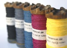 Colored Paper Twine on an Old Small Wooden Bobbin. By PaperPhine