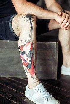Abstract Leg Tattoo