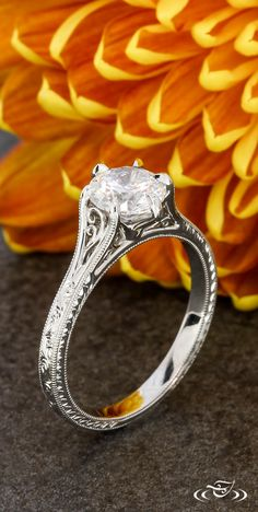 Antique Filigree Engagement Ring #GreenLakeJewelry